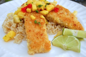 Macadamia Crusted Yellowtail with Mango Salsa